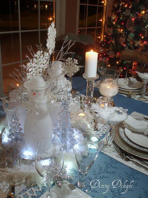 Snowflakes Snowmen Christmas Centerpieces Christmas Table Decorations Christmas Table Settings