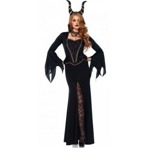 Enchantress Womens Evil Queen Costume Price: $60.00  Black gown costume features long bell sleeves with ragged hem front leg slit and fitted bodice with brocade inset with peplum and gold braid. The stand up collar adds a nice touch. Comes with the matching horned head dress.  Other items shown sold separately.  #cosplay #costumes #halloween
