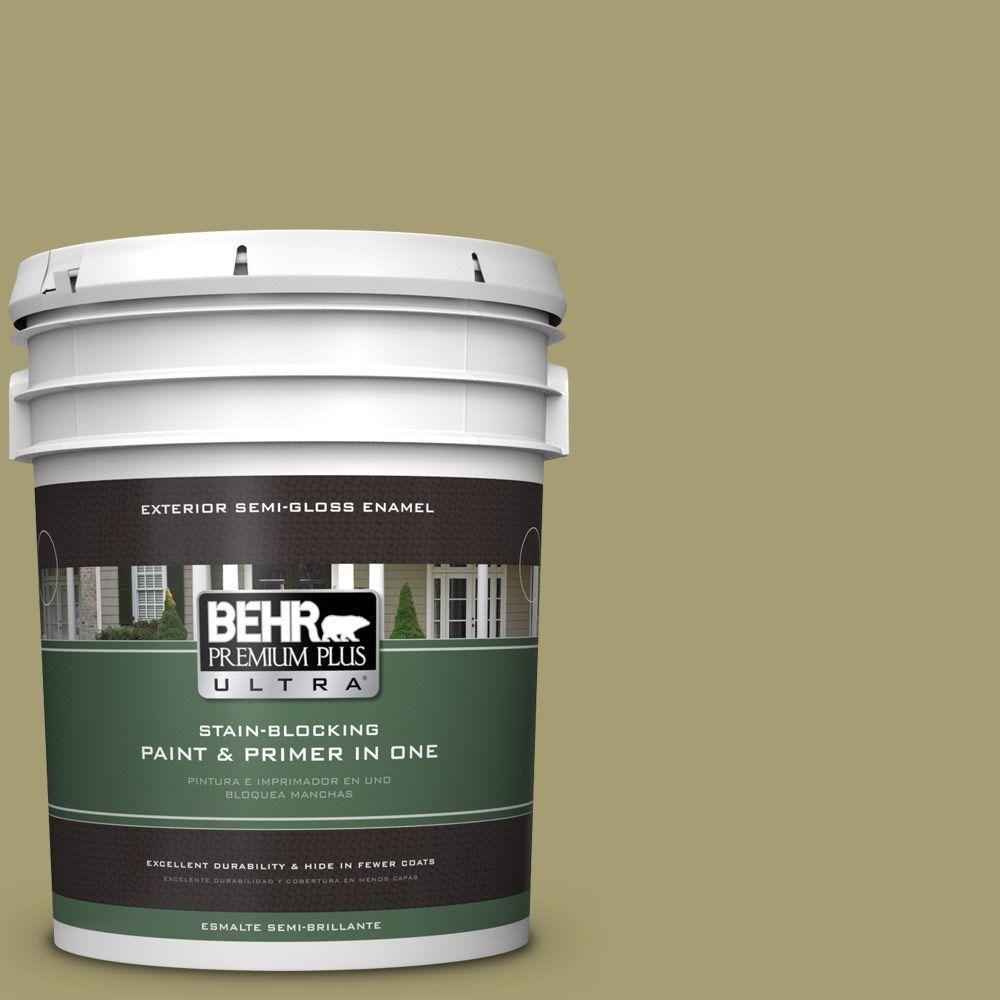 BEHR Premium Plus Ultra 5-gal. #PPU9-4 Fresh Olive Semi-Gloss Enamel Exterior Paint