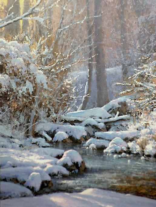 "Michael Godfrey ·     ""Winter at Sligo Creek"" 16x12 oil"