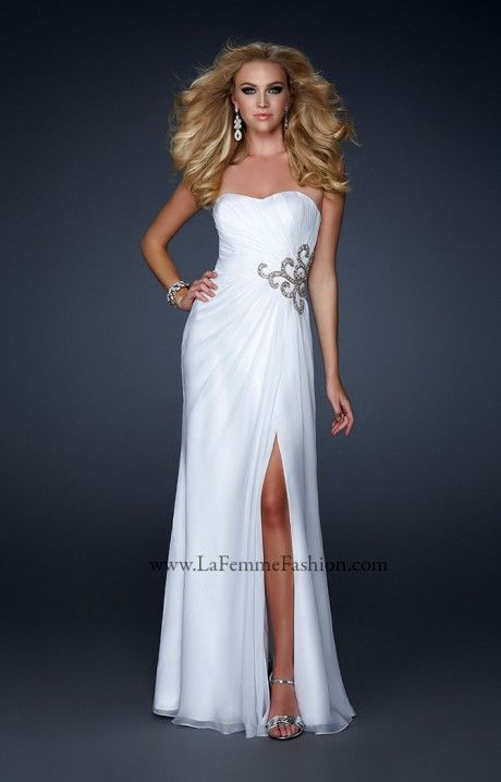 Robe cocktail longue blanche paillette sur taille prom for Atlanta mariage robes magasins