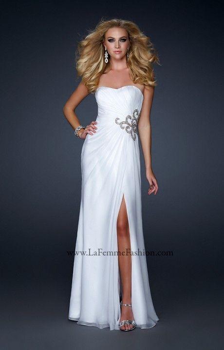 robe cocktail longue blanche paillette sur taille prom. Black Bedroom Furniture Sets. Home Design Ideas