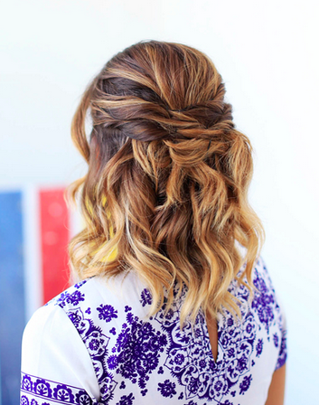 Twisted Half Updo On Short Curly Ombre Hair Perfect Short Hairstyle