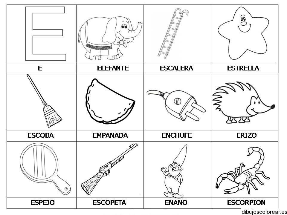 Dibujos Para Pintar Que Empiecen Con La Letra E Dibujos Dibujosparapintar Empiecen Letra Vocales Para Colorear Abecedario Para Ninos Actividades De Letras