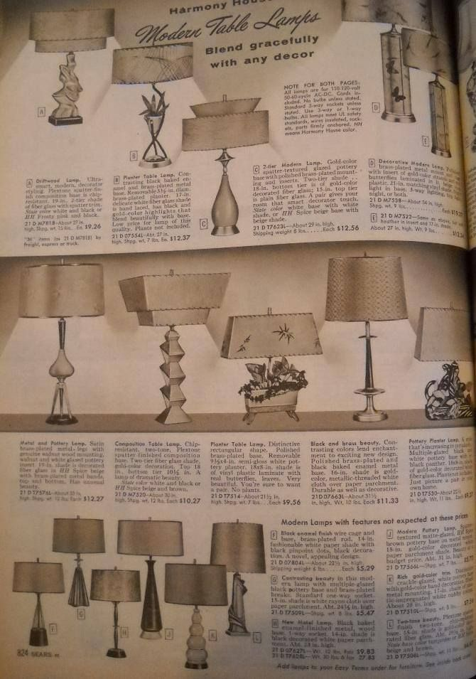 Modern Lamp Page 1957 Sears Catalog Vintage Lamps Mid Century Modern Table Lamps Vintage Table Lamp
