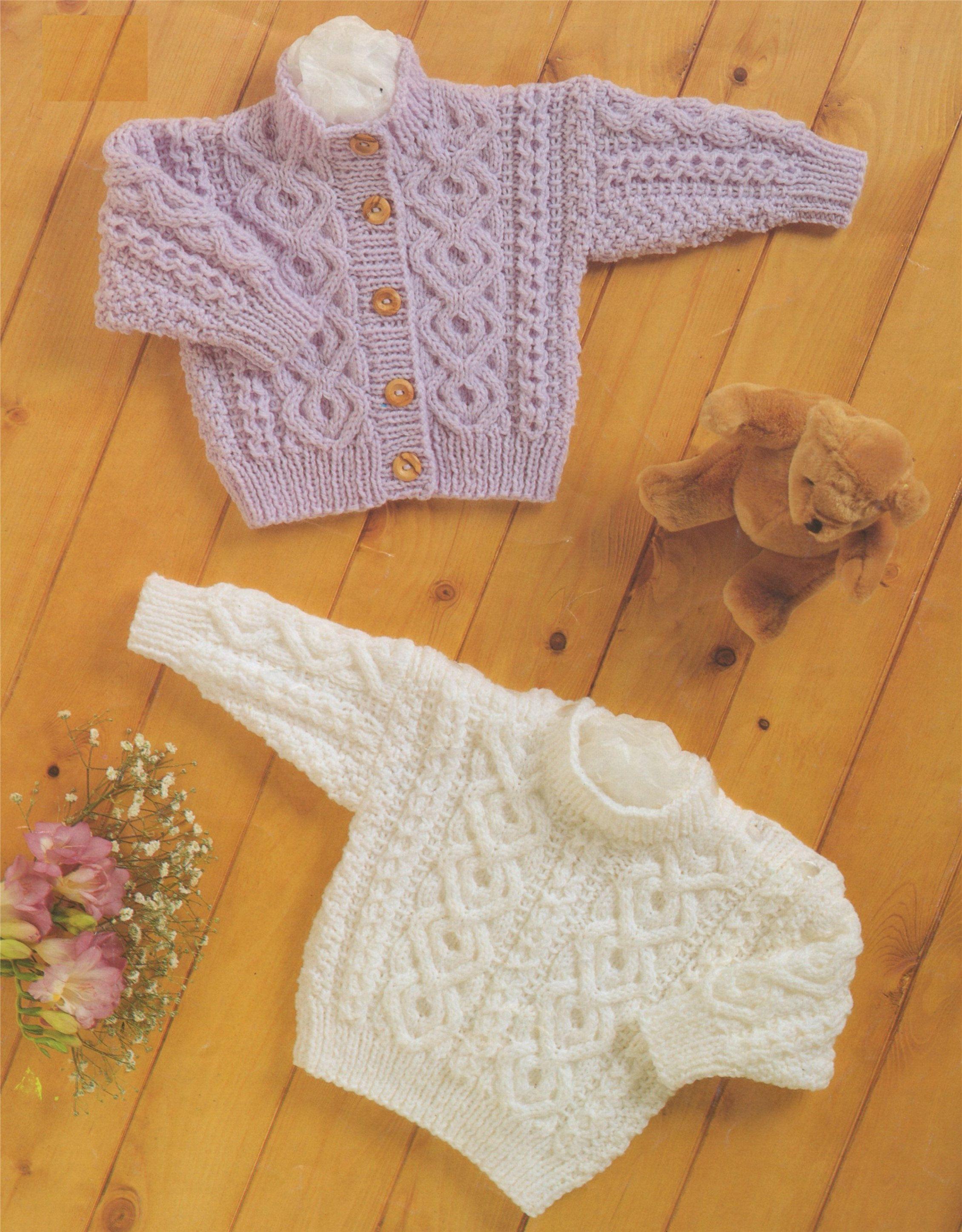 4b083b833 Baby Aran Cardigan and Sweater Knitting Pattern PDF Toddlers Boys or ...