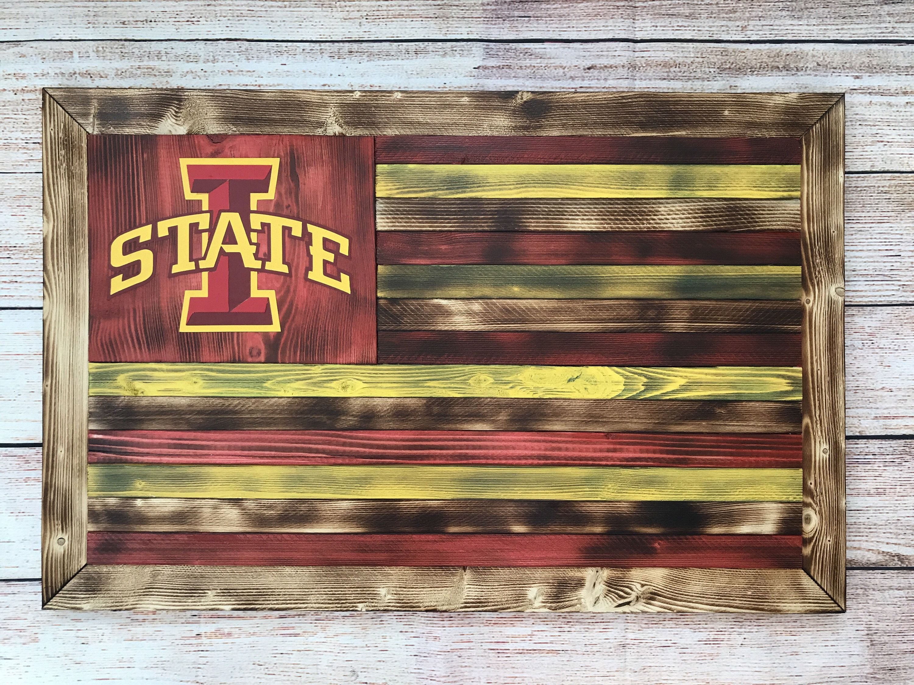 Wooden Iowa State Flag 55 Etsy Com Shop Kaiusandco Wooden