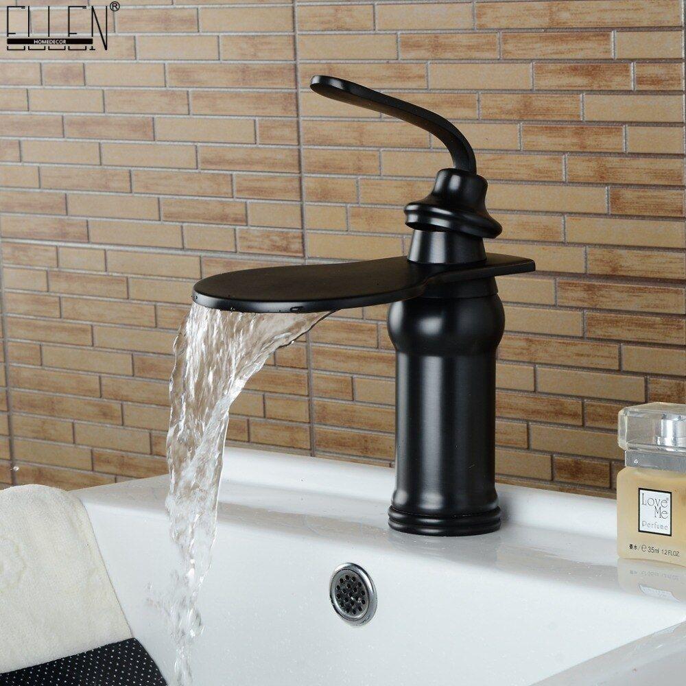Cobre caliente y frío fregadero negro fregadero baño grifo de la cascada Suministros de limpieza y saneamiento Grifos de lavabo