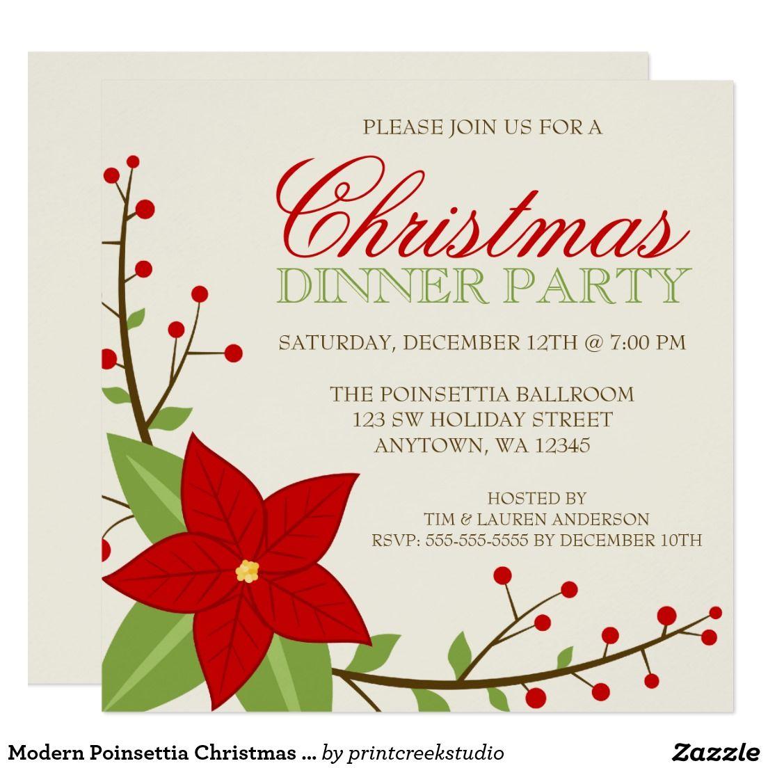Modern Poinsettia Christmas Holiday Dinner Party Card   Christmas ...
