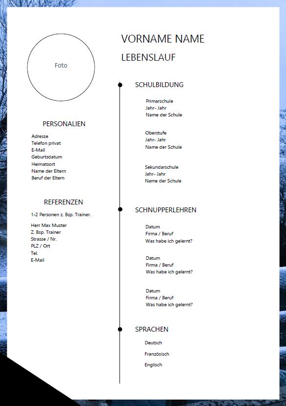 Lebenslauf Sekundarschüler Word Vorlage Lebenslauf Cv Lehrstelle