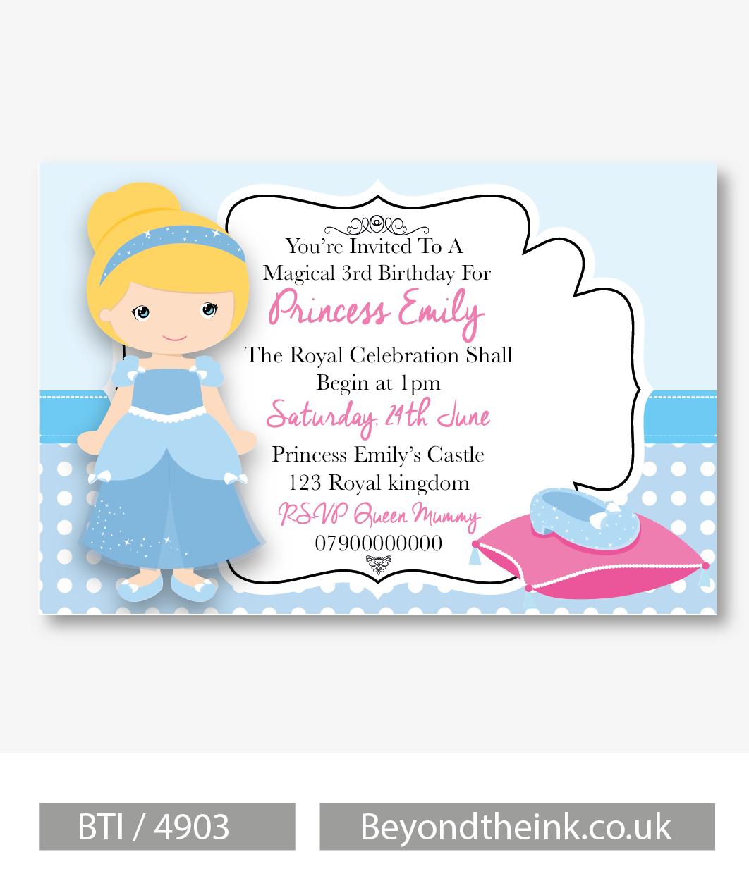 Personalised Cinderella Invitations. Printed on Professional 300 GSM ...