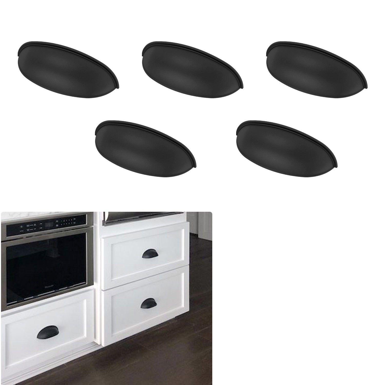 5 pack matte flat black cabinet hardware modern farmhouse kitchen bath bin pull door d in 2020 on farmhouse kitchen hardware id=15843