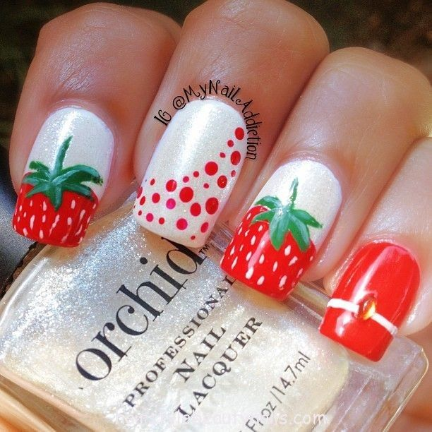 Strawberry Design Nail Art Is Featured From Hairstyle Nails And