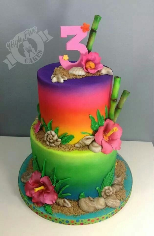 Remarkable Luau Cake By High Five Cakes With Images Luau Cakes Hawaii Funny Birthday Cards Online Elaedamsfinfo