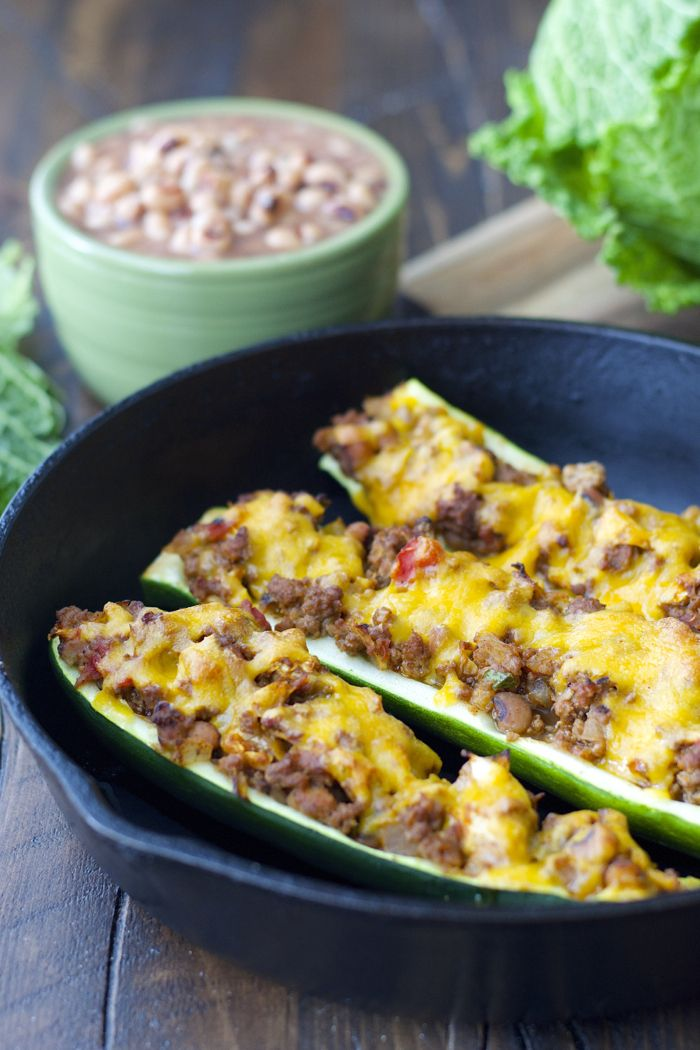 These Cabbage And Black Eyed Pea Stuffed Zucchini Boats Are