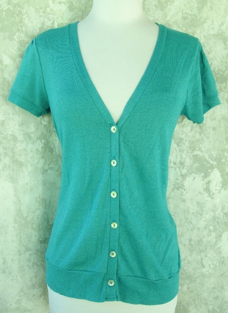 MICHAEL STARS Sweater Top NEW One Size Turquoise Cardigan Short ...