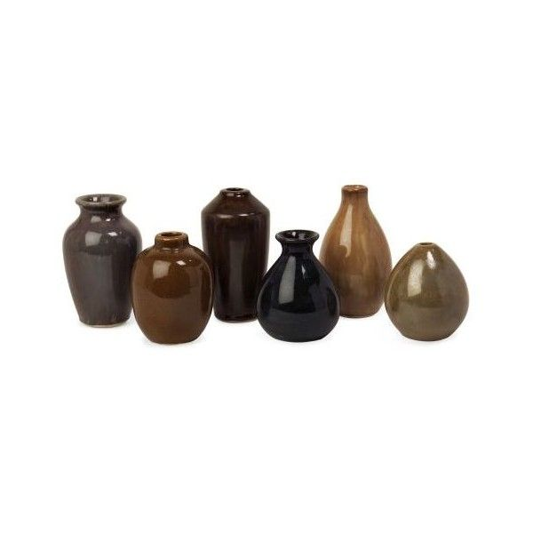 IMAX Home 35073-6 Mini Vases - Set of 6 N/A Home Decor Vases ($36) ❤ liked on Polyvore featuring home, home decor, vases, accents, ceramic vase, mini vase, miniature vase, ceramic home decor and colored vases