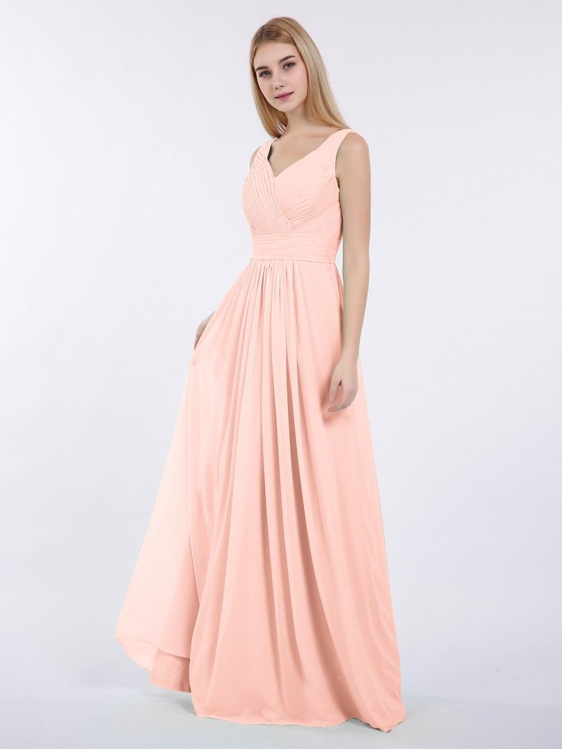 0cc86846f6a42 Coral Camille V-neck Full Length Chiffon Dress with Pleated Bodice |  BABARONI