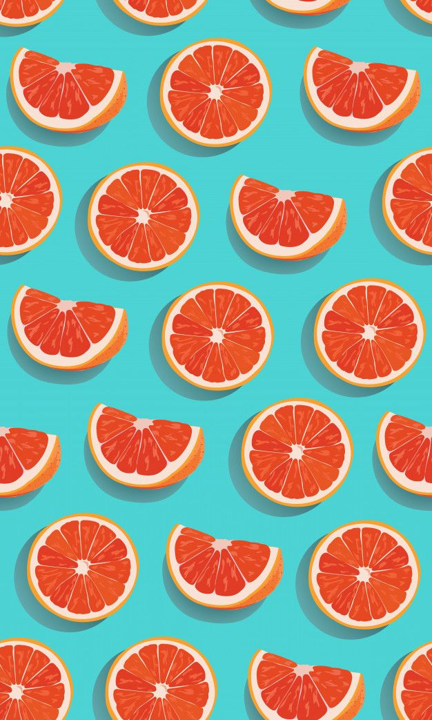 Seamless Pattern Slice Orange Fruits