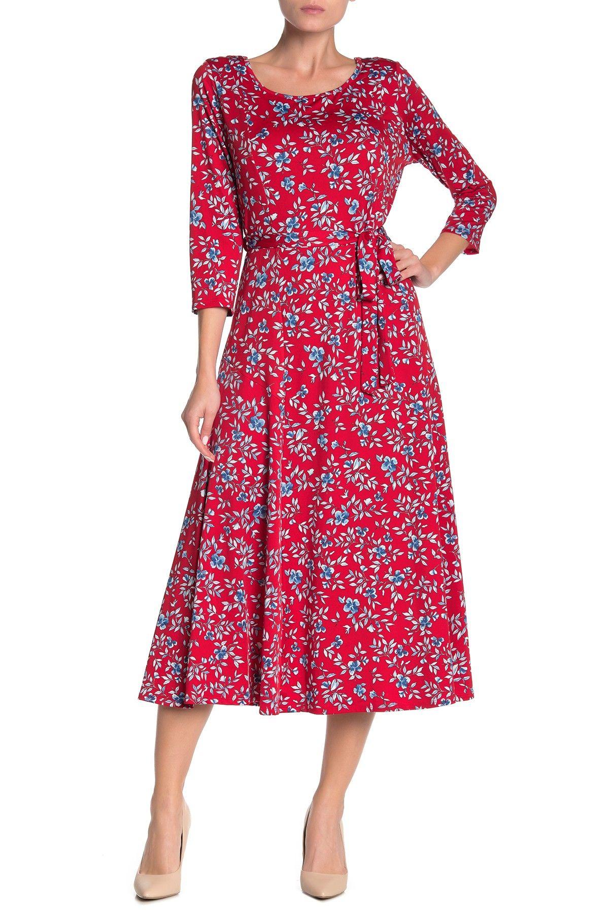 Nina Leonard Crew Neck 3 4 Length Sleeve Midi Dress Nordstrom Rack Midi Dress With Sleeves Nordstrom Dresses Womens Dresses [ 1800 x 1200 Pixel ]