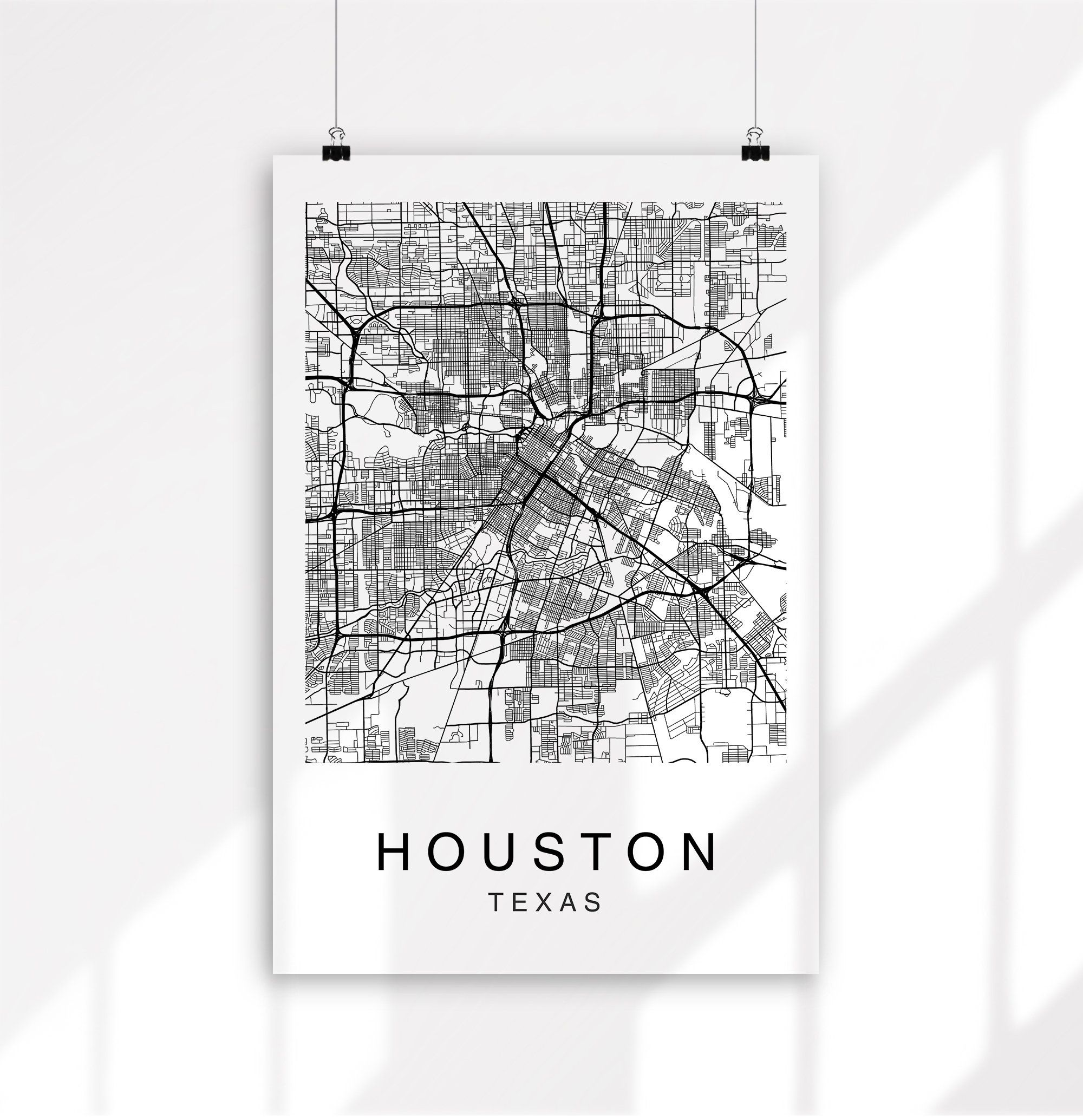 Houston Map Print Map Print Art Print Houston Wall Art Houston