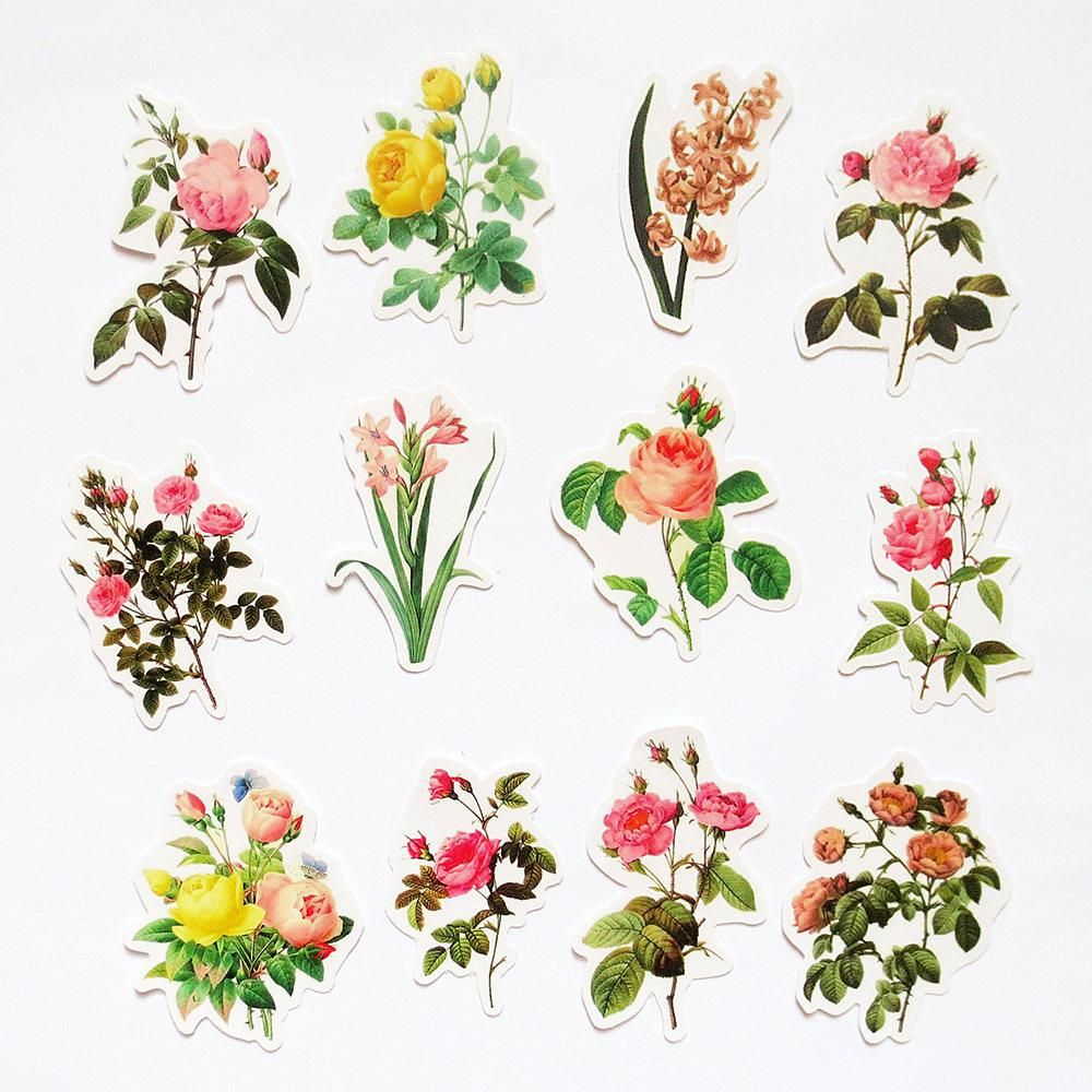 vintage flowers stickers pack flowers sticker sack planner scrapbooking plants garden bunga ide dekorasi seni vintage flowers stickers pack flowers