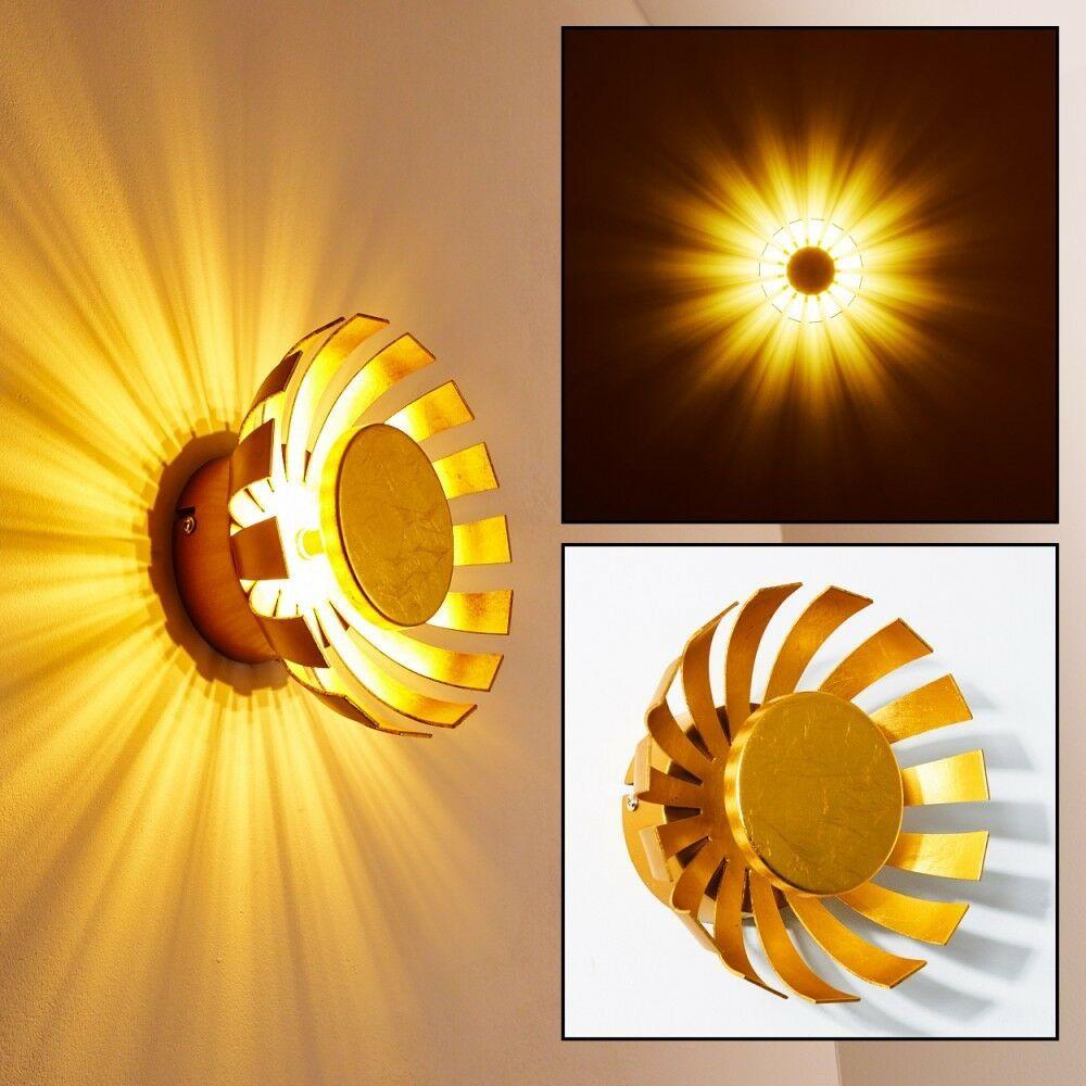 Design LED Wandleuchte Wand Strahler Flur Lampe Wohn Zimmer Leuchte goldfarbig