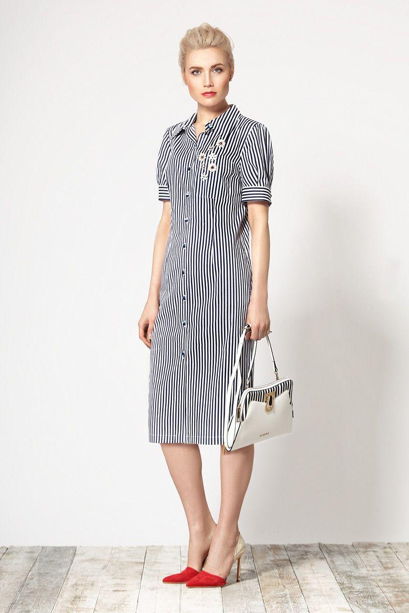 08b5c05eb1a376e Стильное хлопковое платье-халат в вертикальную полоску. Перед с застежкой  на пуговицы и накладным