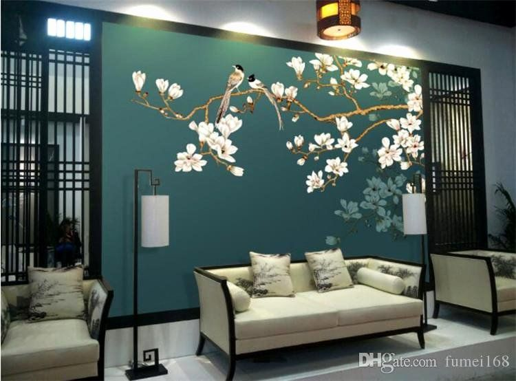 Bedroom Sofa Online India Inspirational Custom Bird Wallpaper Hand Drawn Sketch Bird And Flower Murals F Asian Interior Design Fresh Bedroom Beautiful Bedrooms