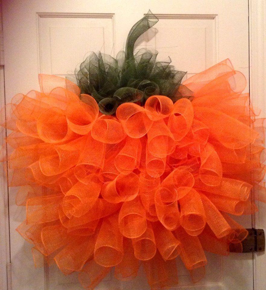 Deco Mesh Spiral Pumpkin Wreath. https://www.etsy.com/shop/MariannesWreaths?ref=shop_sugg
