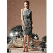 TYAD1105 Chiffon One shoulder cocktail length Charcoal Grey ...