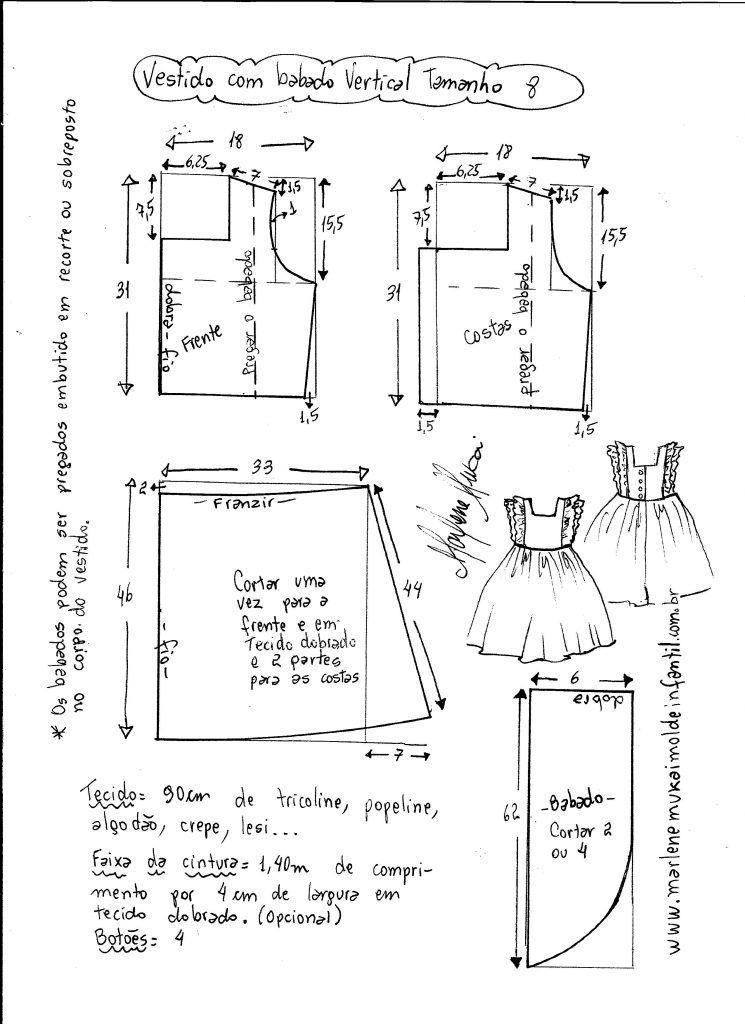 66fc7f0cf Esquema de modelagem de vestido com babado vertical tamanho 8 ...
