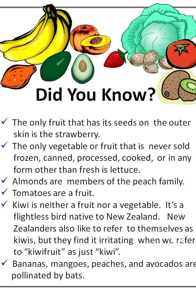 Fruit Facts, Facts For Kids, Food Facts