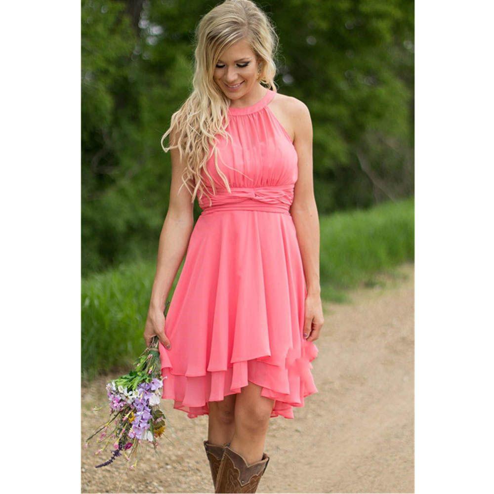 Click to buy ucuc new arrival hi lo bridesmaid dress short halter