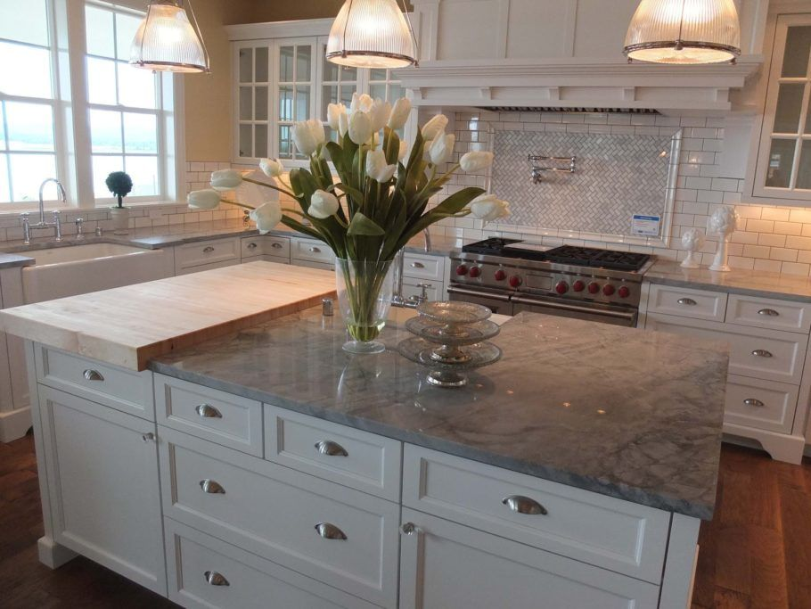 Rectangular Kitchen Island With Grey Quartz Countertop And Wooden Detachable Bar Table Also Drawers Elegant Gre Kitchen Countertops Kitchen Design New Kitchen
