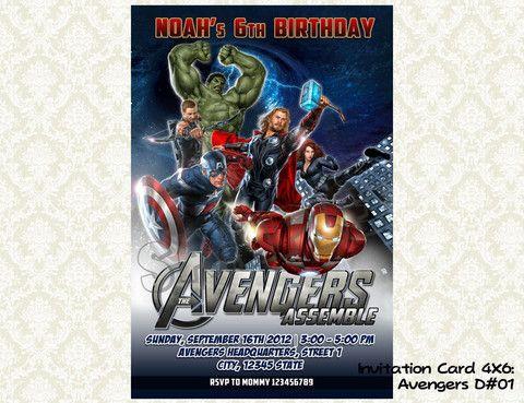 Avengers Invitation - Birthday party printable (4x6) - 01 Avengers