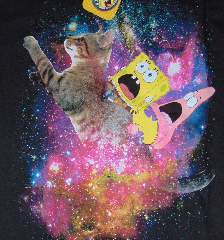 spongebob squarepants t shirt patrick riding cat kitty space size