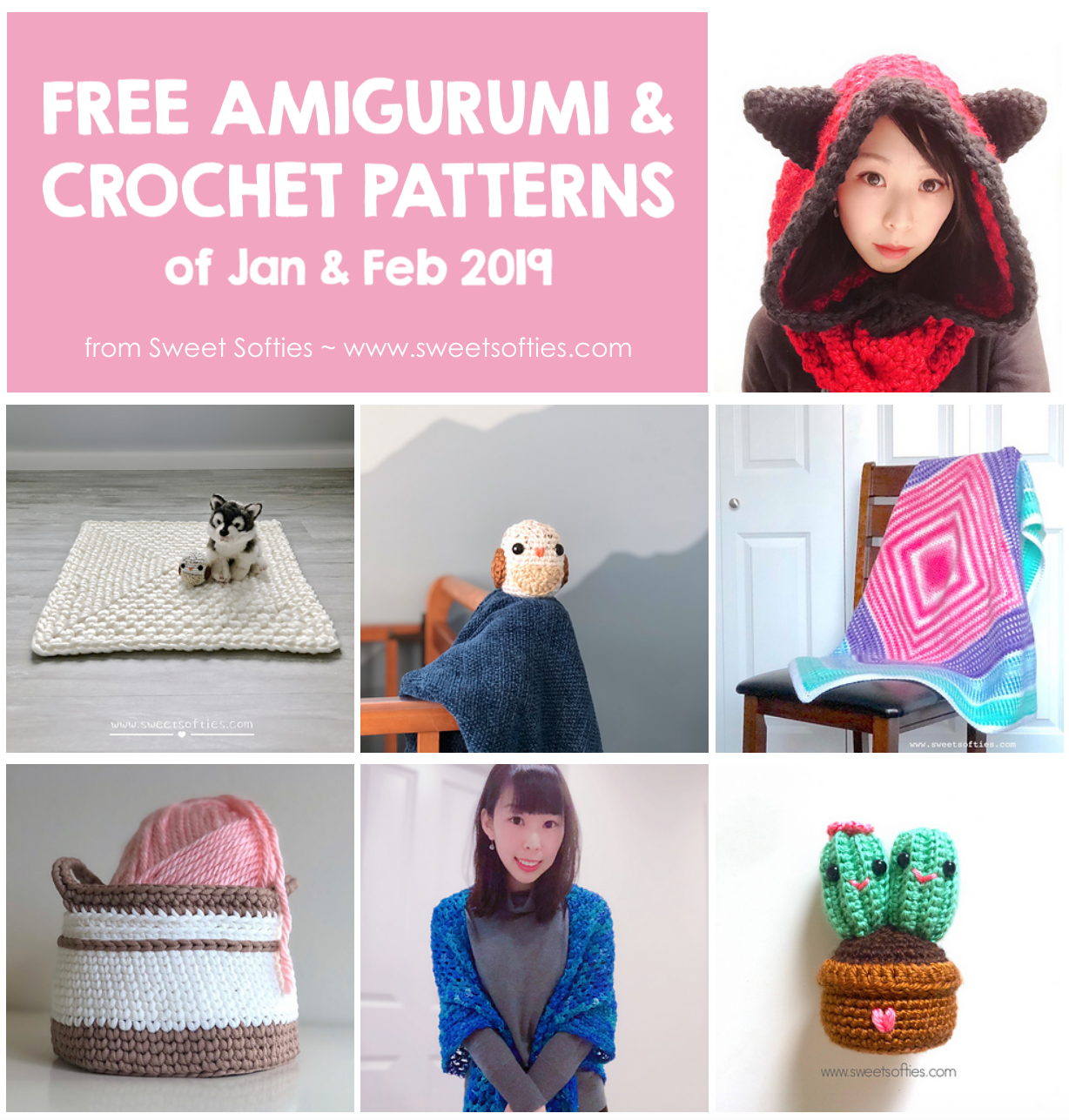 Free Sweet Softies Patterns (Jan & Feb 2019) Free amigurumi crochet patterns by from January and February 2019 <3 Tags: