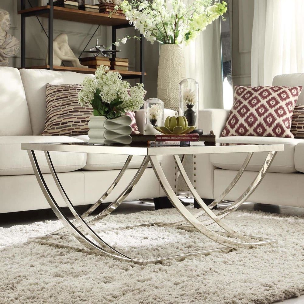 Chrome Black Glass Coffee Table Steel Arch Curved Modern Living