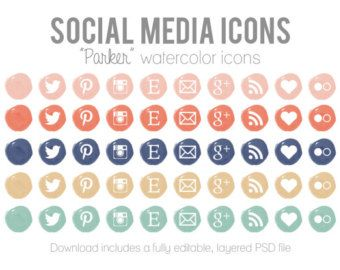 Watercolor Social Media Icons - Blog Website Buttons - \