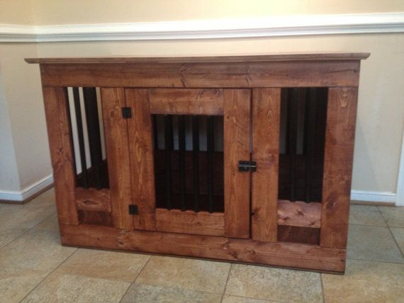 Wooden dog crate with metal bars by Cre8tivefurniture on Etsy
