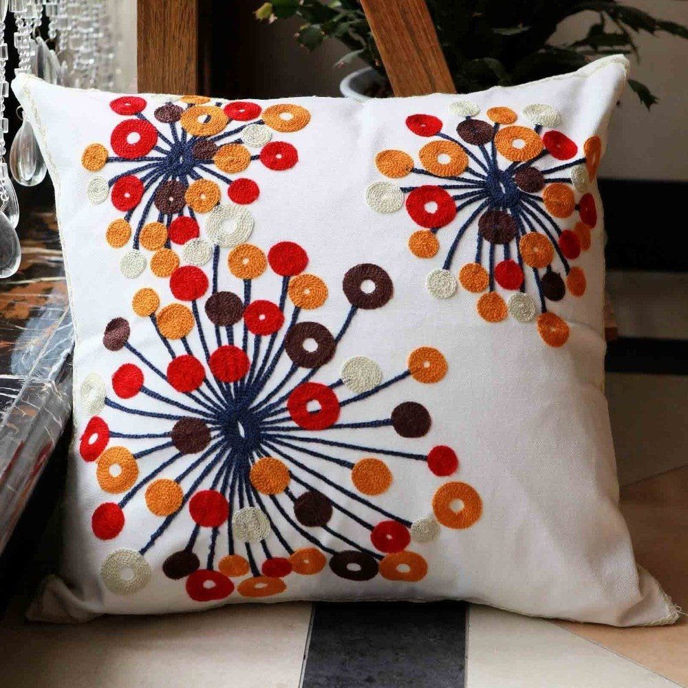 Flowers cotton handmade embroidered cushion cover decorative pillow