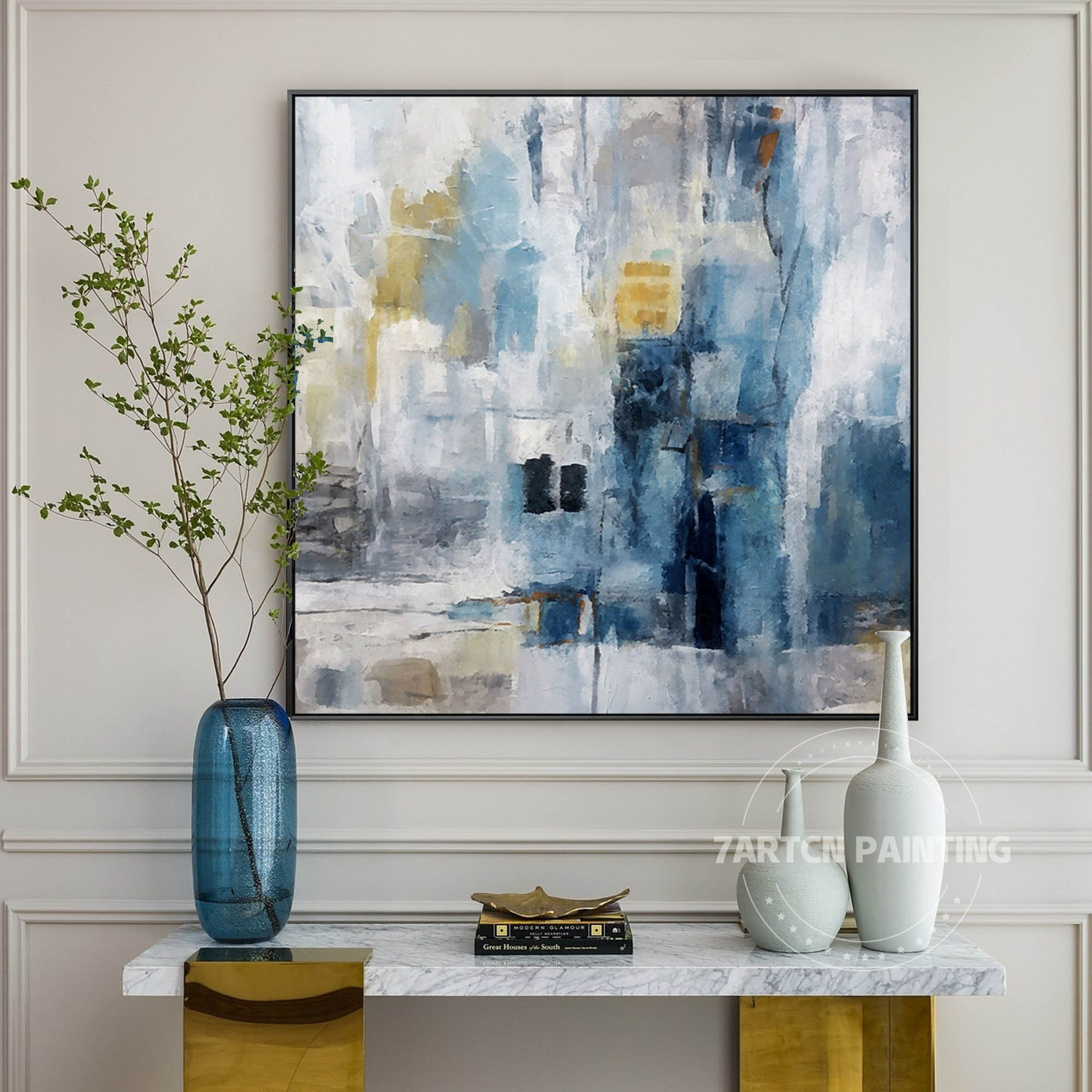 Abstract Painting Blue Nordic Style Original Canvas Acrylic Etsy Wall Art Pictures Abstract Wall Painting Extra Large Wall Art