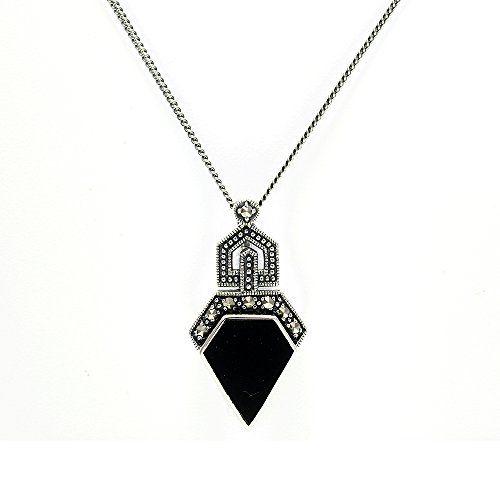Gemondo 925 Sterling Silver 2.31ct Black Onyx Cabochon & 0.13ct Marcasite Art Deco 45cm Necklace 52HO7xRWs
