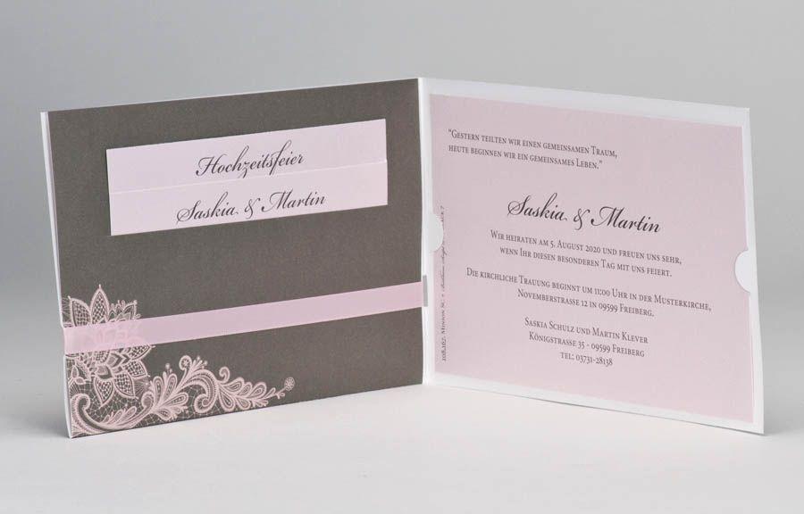Hochzeitskarte In Taupe Mit Ja Wir Heiraten Und Rosa