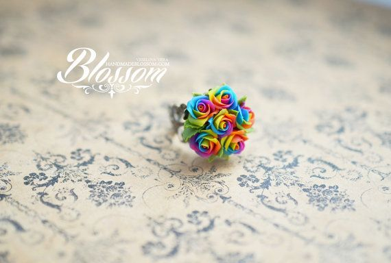 Miniature rainbow rose ring, Handmade rainbow roses ring, Polymer clay rainbow roses, Tie dye rainbow ring, Tie Dye wedding #rainbowroses
