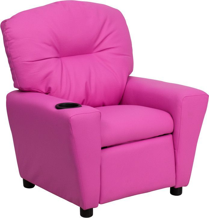 Fine Contemporary Hot Pink Vinyl Kids Recliner With Cup Holder Bt Machost Co Dining Chair Design Ideas Machostcouk