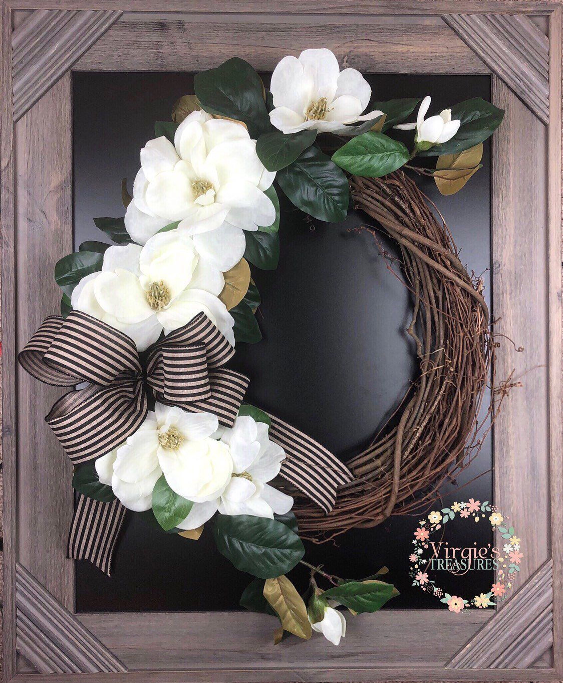 Photo of Beautiful Cream Magnolia Wreath-Magnolia Wreath with Vine Monogram -Magnolia Wreath-Farmhouse Magnolia Wreath-Farmhouse Wreath, Striped Bow