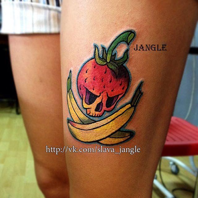 c121c8eb7 Banana strawberry tattoo   Inkage   Tattoos, Fruit tattoo ...