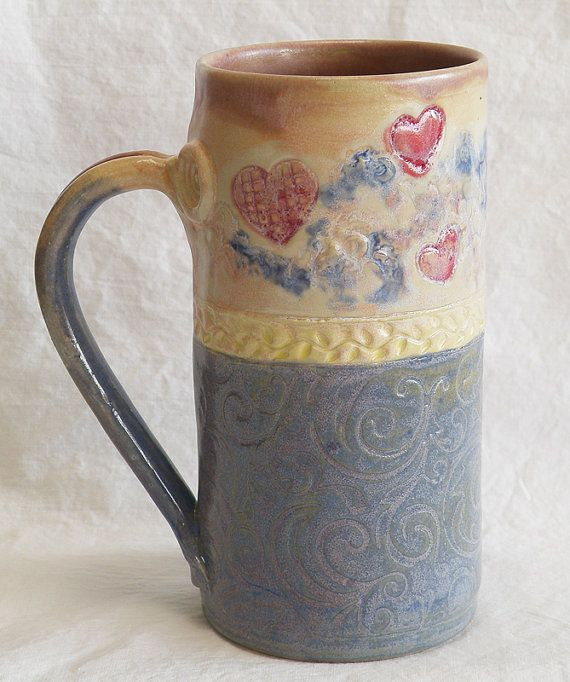 Stoneware 20oz heart ceramic coffee mug 20C039 by desertNOVA, $22.00